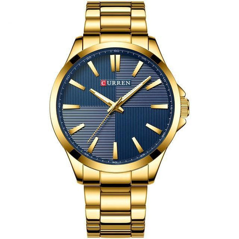 Gentlemen's extreme elegance quartz watch. Gold, Blue Sphere