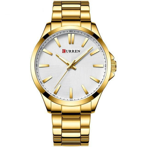 Gentlemen's extreme elegance quartz watch, Gold, White Sphere