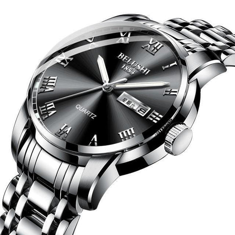 Sport & classic fusion, gentlemen's steel calendar quartz watch. Solid color steel band, black sphere.