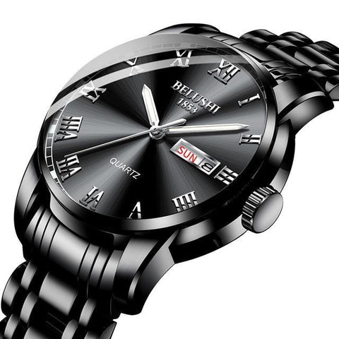 Sport & classic fusion, gentlemen's black steel calendar quartz watch. Solid black steel band & sphere.