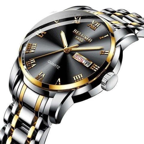 Image of Sport & classic fusion, gentlemen's calendar quartz steel & gold watch and band. Black sphere.