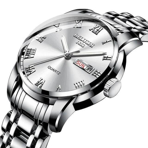 Image of Sport classic fusion, gentlemen's steel quartz day date calendar  watch, steel band and sphere.
