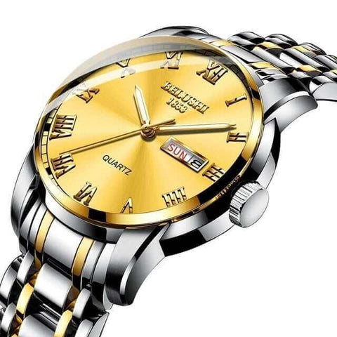 Sport & classic fusion, gentlemen's calendar quartz steel & gold watch and band. Gold sphere.