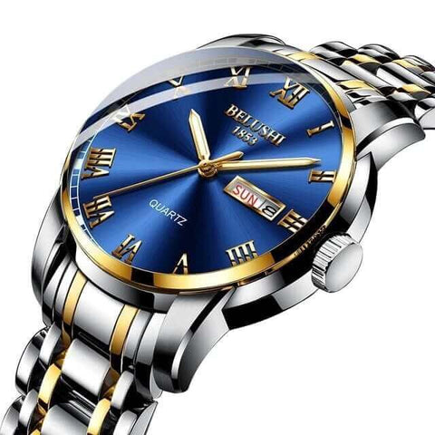 Image of Sport & classic fusion, gentlemen's calendar quartz steel & gold watch and band. Blue sphere.