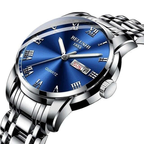 Image of Handsome modern fusion style, gentlemen's steel quartz watch