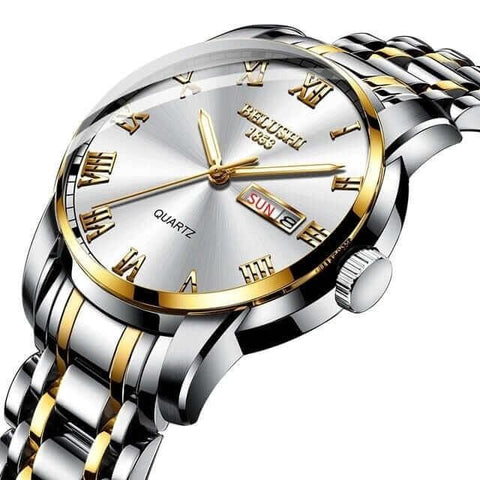Handsome modern fusion style, gentlemen's steel quartz watch