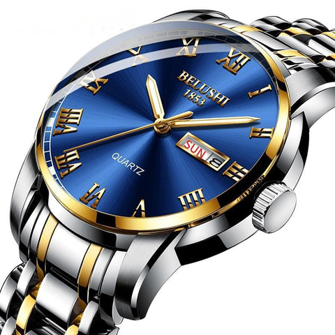 Handsome, modern sport and classic fusion, gentlemen's steel day and date calendar quartz watch.
