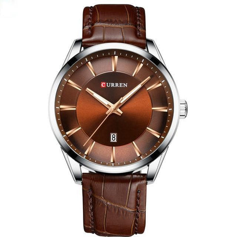 Image of Gentlemen's simple elegance quartz watch. Brown leather strap, Steel, Brown Sphere.