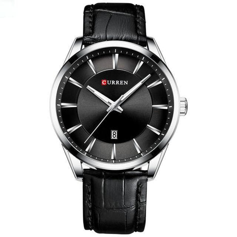 Image of Gentlemen's simple elegance quartz watch. Black leather strap, Steel, Black Sphere.