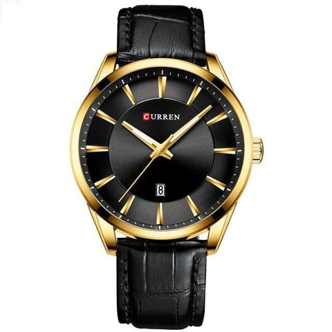 Gentlemen's simple elegance quartz watch. Black leather strap, Gold, Black Sphere.