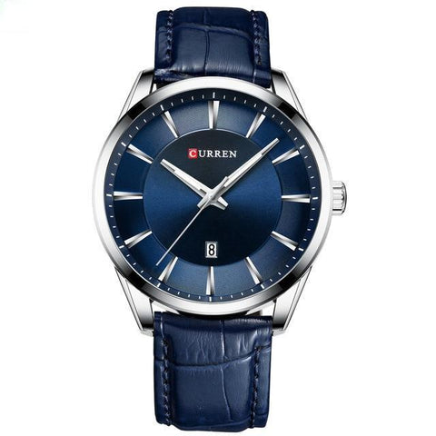 Image of Gentlemen's simple elegance quartz watch. Blue leather strap, Steel, Blue Sphere.