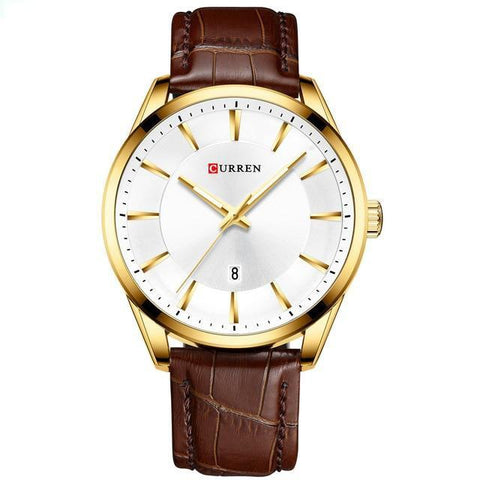 Image of Gentlemen's simple elegance quartz watch. Brown leather strap, Gold, White Sphere.