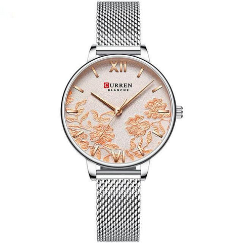 Image of Ladies' roses quartz watch. Silver watch and band, milanese style. Beige sphere.