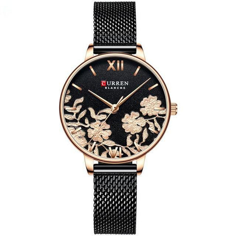 Image of Ladies' roses quartz watch. Rose gold watch, milanese black band, Black sphere.
