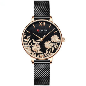 Ladies' roses quartz watch. Rose gold watch, milanese black band, Black sphere.