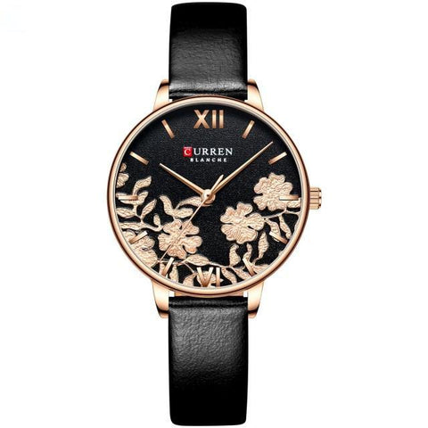 Image of Ladies' roses quartz watch. Rose gold watch, leather black band, Black sphere.