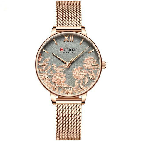 Image of Ladies' roses quartz watch. Rose gold watch, milanese rose gold band, Grey sphere.