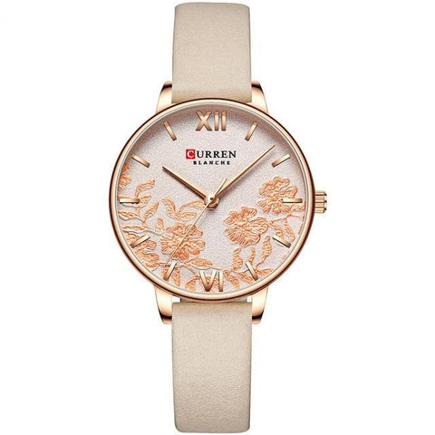 Image of Ladies' roses quartz watch. Rose gold watch, leather beige band, Beige sphere.