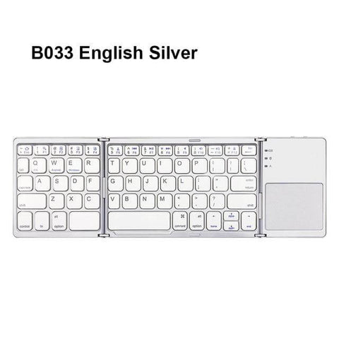 Image of Mini folding Bluetooth keyboard, with touchpad. English, silver.