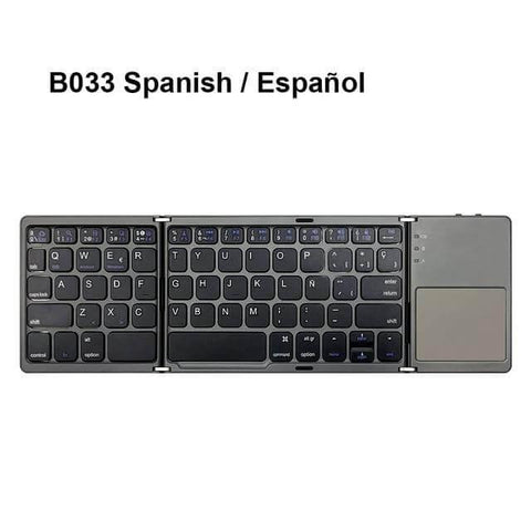 Image of Mini folding Bluetooth keyboard, with touchpad. Spanish/Español, gray/gris.