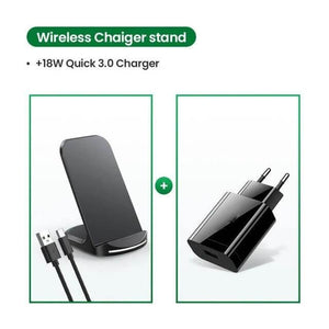 Multi wattage QI standing charger, plus 18W 3.0 Eu plug quick charger.