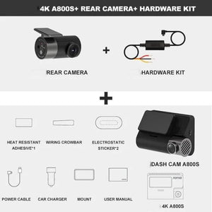 Super Dash Cam 4K, A800S with GPS. With rear camera and Hardware kit.
