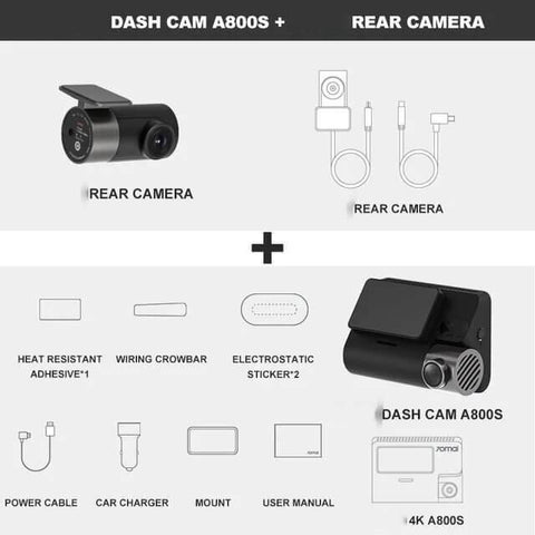 Image of Super Dash Cam 4K, A800S with GPS, plus rear camera.