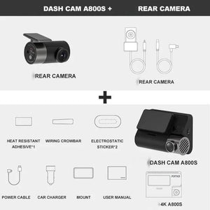 Super Dash Cam 4K, A800S with GPS, plus rear camera.