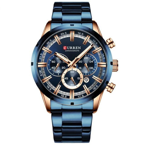 Image of Gentlemen's elegant sporty watch. Blue steel and Gold Rose, Blue & Gold Rose Sphere