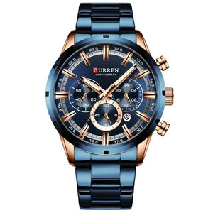 Gentlemen's elegant sporty watch. Blue steel and Gold Rose, Blue & Gold Rose Sphere