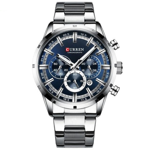 Gentlemen's elegant sporty watch. Steel, Blue Sphere