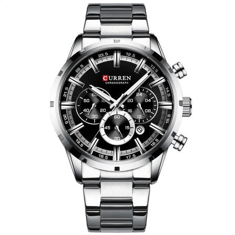 Image of Gentlemen's elegant sporty watch. Steel, Black Sphere