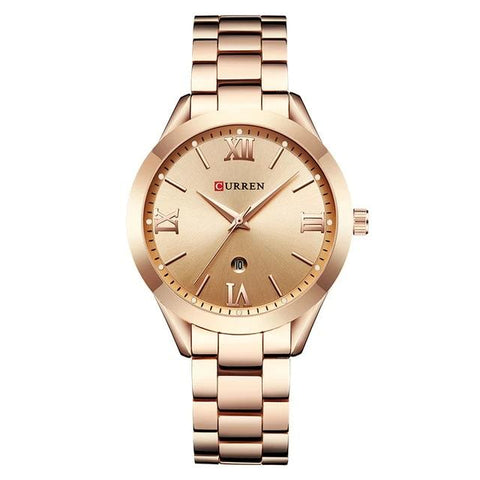 Ladies' distinguished and classy Calendar Quartz Rose Golden Watch, rose golden sphere.