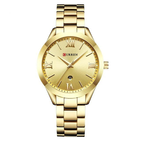 Image of Ladies' distinguished and classy Calendar Quartz Golden Watch, golden sphere.
