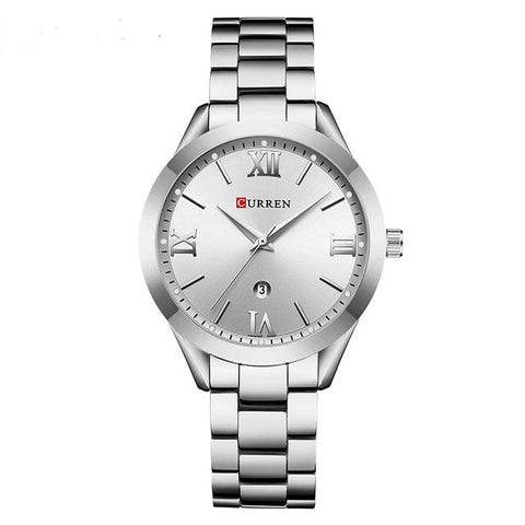 Image of Ladies' distinguished and classy Calendar Quartz Steel Watch, silver sphere.