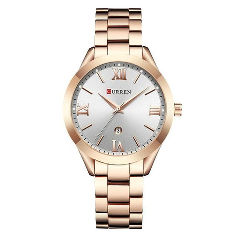 Image of Ladies' distinguished and classy Calendar Quartz Rose Golden Watch, white sphere.