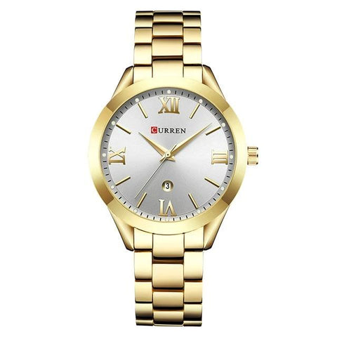 Image of Ladies' distinguished and classy Calendar Quartz Golden Watch, white sphere.
