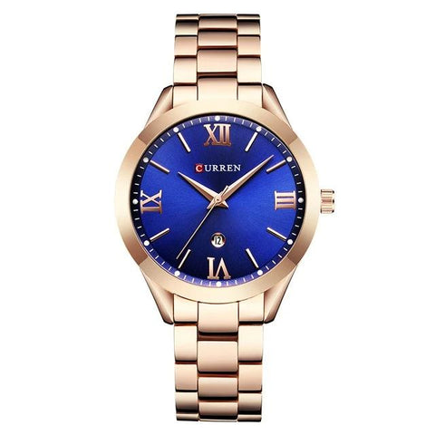 Image of Ladies' distinguished and classy Calendar Quartz Rose Golden Watch, blue sphere.