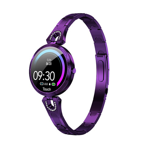 Image of Ladies' elegant, delicate purple smartwatch.