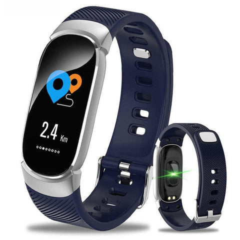 Image of Athletes' stylish sports smartwatch,  blue strap, beautiful and refined