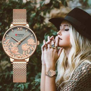 Stylized rose ladies' quartz watch