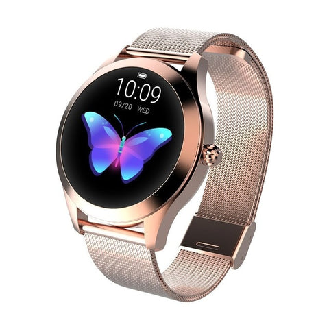 Image of Ladies' lovely rose gold butterfly smartwatch. Rose gold steel strap.