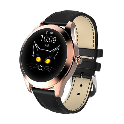 Image of Ladies' lovely rose gold cat smartwatch. Black leather strap.