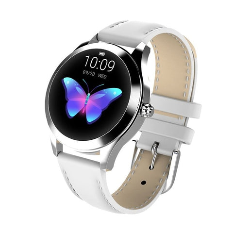 Ladies' lovely butterfly steel smartwatch. White leather strap.