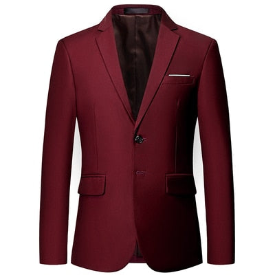New Luxury Classic RED BLACK Men'S Casual Blazers Autumn Spring Fashion Brand Loose Long Suit