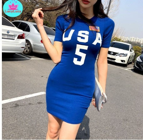 New summer women's fashion personality O-neck short letter print bag hip dress Office Lady  Cotton
