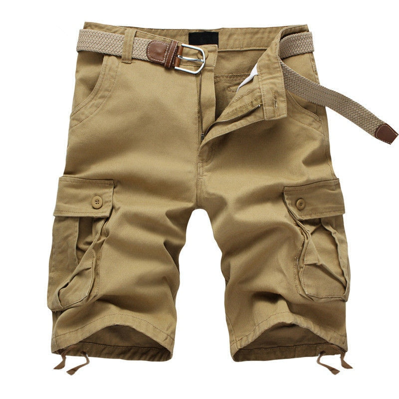 Military Style Summer Men Baggy Cargo Cotton Knee Length Pant Casual Trouser