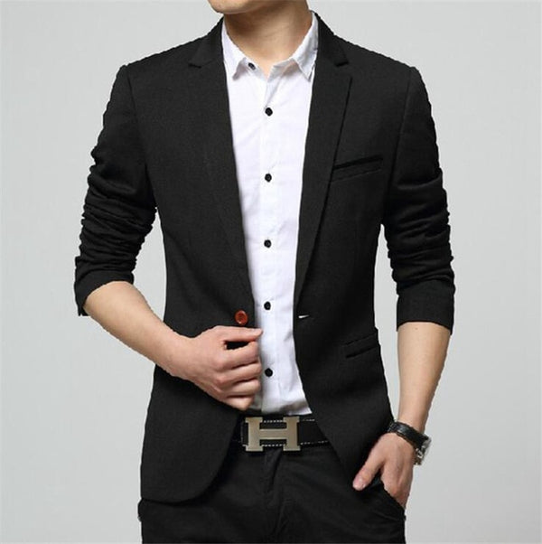 Covrlge 2020 Spring Autumn New Men Blazer Fashion Slim Fit Male Suit Jacket Coat Elegant Mens Dress Clothes Wedding Coat MWX013