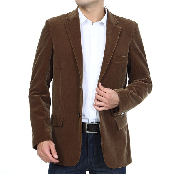 Mens Corduroy Blazers 2020 Autumn Men Blazer Smart Casual Jacket Solid Camel Black Cotton Business Suit Jackets Men Officer 4XL
