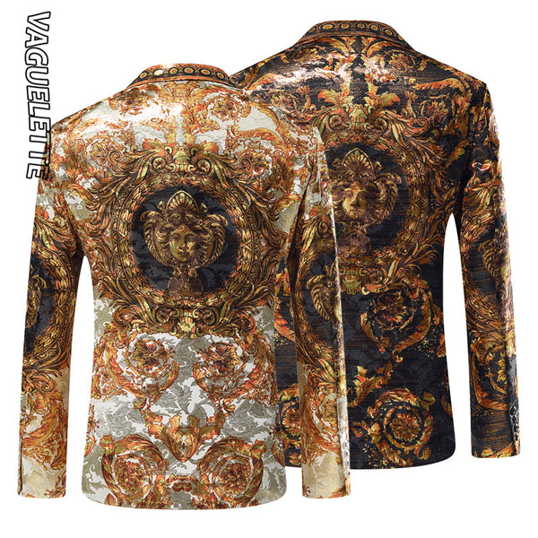 VAGUELETTE Black&Golden Mens Blazers Luxury Brand Italy Style Stage Costumes For Singers Mens Blazer Printed Jacket Coats